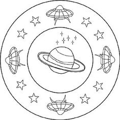 Ufo in space as a children mandala coloring page, Christmas Themes, Kids Christmas, Ufo, Constellations, Aliens, Conceptual Framework, Bodies, Mandala Coloring Pages, Kindness Rocks