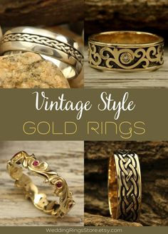 Vintage Style Gold rings for men and women by WeddingRingsStore. Vintage ring weaves with genuine stones. Vintage Engagement and wedding rings. White and Yellow Gold Wedding bands with stones - Citrine, Diamond, Emerald, Ruby, Sapphire, Topaz, Amethyst, Garnet, Peridot or Cubic Zirconia of different color. Vintage style wedding rings in white and yellow gold 14K. Vintage wedding gemstones rings for mens and womens. Anniversary gift for him #goldring #Diamondring #goldjewelry #Engagementrings