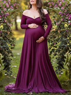 Maternity Elegant v-neck purple long-sleeved dress – streettide Types Of Sleeves, Dresses With Sleeves, Maternity Dresses For Photoshoot, Spring Skirts, Sleeved Dress, Bridesmaid Dresses, Wedding Dresses, Sleeve Styles, Bodycon Dress