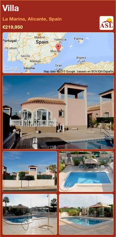 Villa for Sale in La Marina, Alicante, Spain - A Spanish Life Valencia, Alicante Spain, Spanish, Villa, Mansions, House Styles, Life, Palmas, Mansion Houses