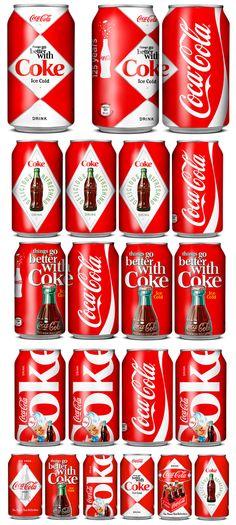 Latinhas retrô de Coca-Cola.