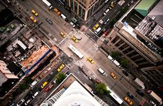Intersection NYC // New York Rooftop Photos by Navid Baraty New York From Above, City From Above, Places Around The World, Oh The Places You'll Go, Around The Worlds, New York Street, New York City, New York Rooftop, Urban Photography