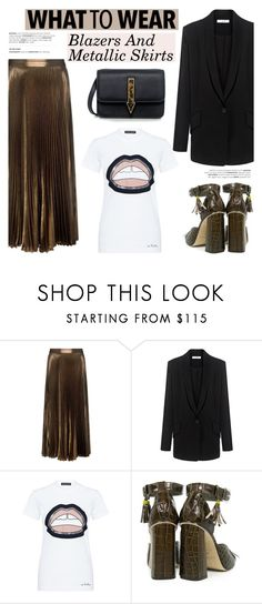 """""""What to wear: Blazers And Metallic Skirts"""" by ifchic ❤ liked on Polyvore featuring A.L.C., IRO, Markus Lupfer, SUNO New York and Mohzy"""