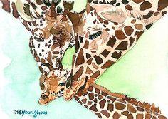ACEO ORIGINAL watercolor, Loving family, Giraffe, Gift for animal lovers
