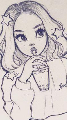 Girly Drawings, Anime Drawings Sketches, Art Drawings Sketches Simple, Anime Sketch, Drawing Ideas, Cartoon Drawings Of Girls, Easy Drawings Of Girls, Cool Drawings Tumblr, Drawing Hair