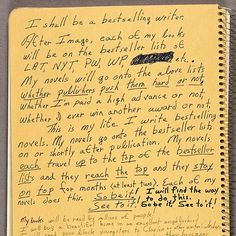 octavia butler's (science fiction writer) writes out life goals and notes to self!  Inspiring!