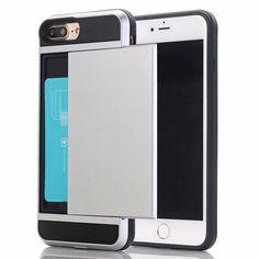 72f1cba5bb7 iPhone 7 / 8 plus hybrid case hoesje met ruimte voor 2 pasjes - zilver