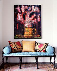 colorful mix with an antique bench with suzani pillows Interior Desing, Interior Design Inspiration, Interior And Exterior, Interior Decorating, Decorating Ideas, Furniture Inspiration, Interior Ideas, Modern Interior, Design Entrée