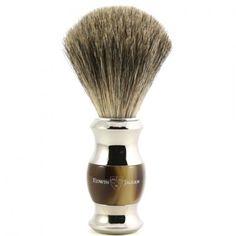 Buy Edwin Jagger Imitation Horn & Chrome Shaving Brush (Pure Badger) from The English Shaving Company. Extensive range of Pure Badger Shaving Brushes from premium brands. Badger Shaving Brush, Shaving & Grooming, Shaving Razor, Wet Shaving, Male Grooming, Shaving Cream, West Coast Shaving, Edwin Jagger, The Art Of Shaving