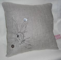 beautiful hare on linen cushion in free motion embroidery by JAMMY THINGS .