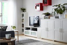 BRIMNES storage furniture lets you keep things on display or tucked away. And…