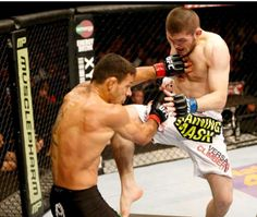 UFC fighter (155 lbs) Khabib doing what he does best, winning.