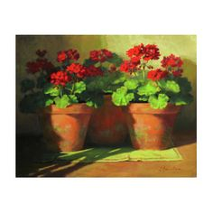 Red Geraniums Painting - Potted Geraniums by Linda Jacobus Potted Geraniums, Red Geraniums, Painting & Drawing, Watercolor Paintings, Framed Prints, Art Prints, Canvas Prints, Botanical Prints, Floral Prints