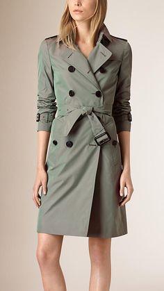 Verde giz Trench coat de tecido tecnológico impermeável - Imagem 1