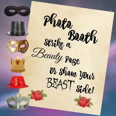 I will be adding a new Beauty and the Beast themed item to my shop each day this week!  To kick off, here is a fun photo booth sign.  Cheesy 90s-style school photo background and props not included :)  Perfect for a Disney wedding or birthday party!