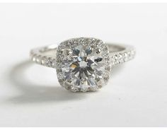 1.52 Carat Diamond Cushion Halo Diamond Engagement Ring | Blue Nile Engagement and Wedding Rings