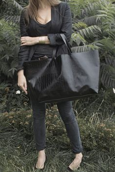 Black Croc Oversized  Bag.
