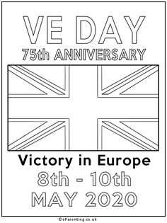 Free printable VE Day Anniversary colouring picture. This colouring picture about VE Day is celebrates the Anniversary of Victory in Europe, celebrated on the weekend of to May Bunting Template, Victory In Europe Day, Coloring Pictures For Kids, British Party, Best Trampoline, Printable Pictures, Great British, Colouring Pages, Printable Coloring