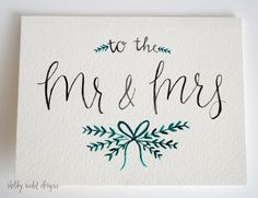 Mr Mrs Wedding Card Congratulations Engagement Gift Watercolor Handmade