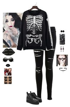 """""""Gothic/Punk"""" by hanakdudley ❤ liked on Polyvore featuring Miss Selfridge, WithChic, Lulu Guinness, Casetify, Yves Saint Laurent and Lime Crime"""
