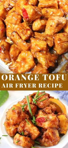 The ultimate orange tofu with pillowy soft center and caramelized crispy edges, . - The ultimate orange tofu with pillowy soft center and caramelized crispy edges, cooked in the air f - Air Fryer Recipes Vegetarian, Air Fryer Dinner Recipes, Air Fryer Recipes Easy, Tofu Recipes, Cooking Recipes, Healthy Recipes, Snacks Recipes, Recipes With Frozen Tofu, Cooking Tofu