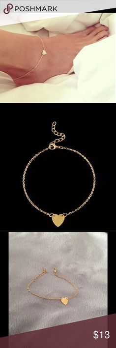 Gold heart anklet Dainty heart anklet in gold (also available in silver) All new materials. Approx. 9 inches long. Jewelry
