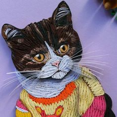 Quilled Christmas cat