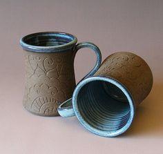 Pottery Mug - Bollywood Mug - Hand carved Henna - Latte - Mehndi - Cafe - Coffee - Tea - Chai Stoneware Mugs, Ceramic Cups, Ceramic Art, Pottery Mugs, Ceramic Pottery, Pottery Ideas, Bowls, Clay Mugs, Ceramic Techniques