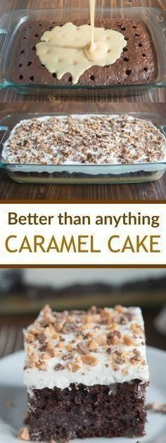 than Anything Cake made with caramel sauce and fresh whipped cream. This Better than Anything Cake made with caramel sauce and fresh whipped cream. -Better than Anything Cake made with caramel sauce and fresh whipped cream. 13 Desserts, Brownie Desserts, Oreo Dessert, Delicious Desserts, Healthy Desserts, Carmel Desserts Easy, Healthy Recipes, Dinner Healthy, Healthy Food
