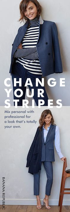 Reinvigorate your winter-into-spring wardrobe by mixing and matching untraditional pieces. Perk up a classic chambray suit with a fresh striped turtleneck or layer a striped boyfriend shirt under a menswear inspired lightweight wool vest for a surprisingly feminine finish at work. Don't be afraid to mix, match and change your stripes.