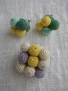 crochet earrings & brooch