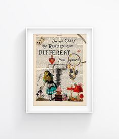 Alice In Wonderland Vintage Illustration Print Decorative Art Book Page Upcycled Page Print Wall decor Retro Poster Vintage Book print 094