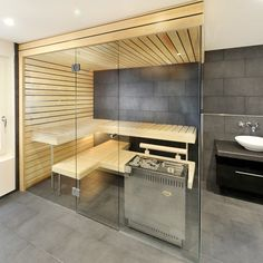 KÜNG AG Saunabau, Wädenswil, Switzerland: Glas Saunas, Indoor Sauna, Sauna Steam Room, Sauna Design, Bathroom Layout, Shower Tub, Wellness Spa, Future House, Master Bathroom