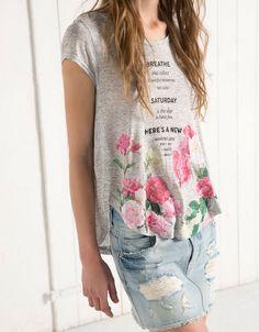 BSK printed back opening top - T- Shirts - Bershka United Kingdom