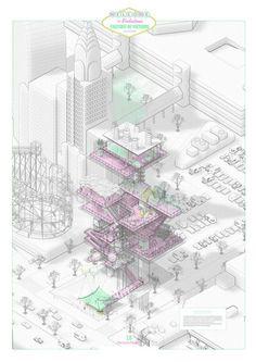 En el Evento DTF Arquitectura e Innovación celebrado el pasado sábado 27 de febrero hemos conocido a los jóvenes arquitectos que han resultado premiados. Axonometric View, Axonometric Drawing, Architecture Graphics, Interior Architecture, Isometric Drawing, Architecture Presentation Board, Concept Diagram, Croquis, Presentation Styles