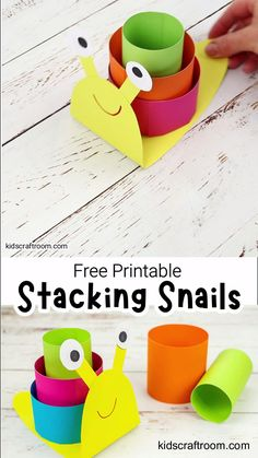 This 3D Paper Snail Craft is so fun for kids! Make play and learn as you stack, order and swap their coloured shells! A lovely Summer craft and learning activity for kids. (Free Printable Snail Craft Template.) #kidscraftroom #kidscrafts #snails #snailcrafts #printablecrafts #freeprintables #kidsactivities #papercrafts