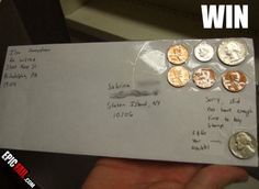 Too lazy to buy stamps. At least he/she included a tip. Talk about lazy people! Epic Fail Pictures, Funny Pictures, Lazy People, Office Humor, Thing 1, Amazing Pics, Awesome, What Happens When You, Daily Memes