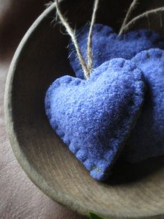 hearts, blue felted