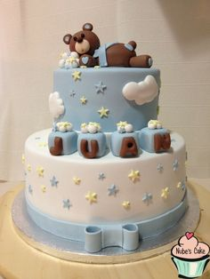 torta falsa bautizo - Buscar con Google Torta Baby Shower, Baby Shower Sweets, Teddy Bear Baby Shower, Baby Boy Shower, Cupcakes, Decoration Buffet, Christening Cake Boy, Teddy Bear Cakes, Fake Cake