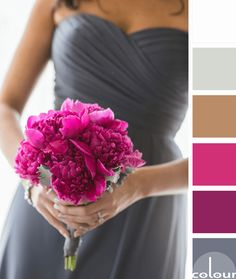 gunmetal gray and fuchsia color palette, color palettes, color combinations, color schemes, color ideas, color for interiors, dark gray, plum pink, fuchsia, hot pink, pantone pink yarrow, warm brown, mocha brown, light brown, eucalyptus green, greenish-gray, grayish-green, white
