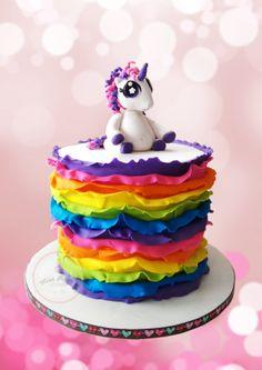 Rainbow Ruffle Unicorn Cake  {Rainbow cake inside}