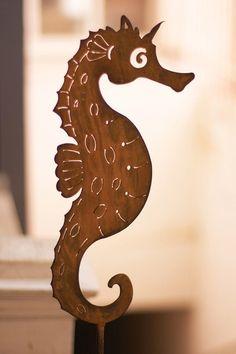 Rustic Metal Seahorse Plant Stake