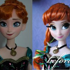 "An artist ""refaced"" the Disney Anna doll to look more like her! Disney needs to hire this person bc they are amazing!"