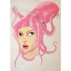 An oil on paper painting depicting a girl with an Octopus on her head. Since an Octopus  see more @ the mind is right http://themindisright.com/Project/Two_Heads_are_Better_Than_One