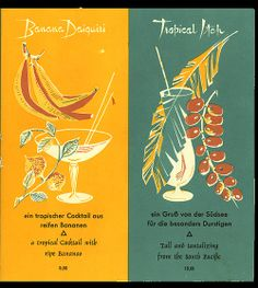 1950's-60's cocktail menu, inside right page from Berlin Hilton - Berlin, Germany