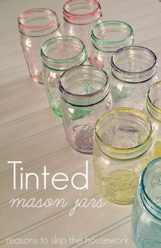 Use Mod Podge and food coloring to create pastel-tinted Mason jars that are ideally suited for use as vases for spring flowers.