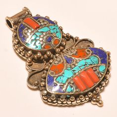 FABULOUS TURQUOISE WITH RED CORAL & LAPIS LAZULI NICE.925 SILVER JEWELRY PENDANT