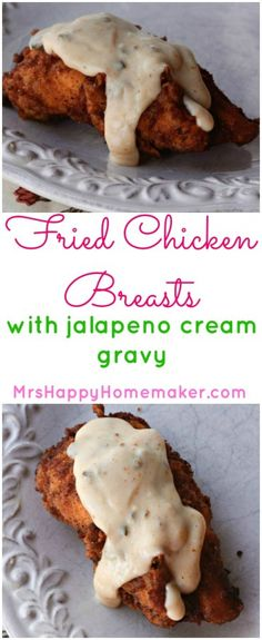 These Fried Chicken Breasts with Jalapeño Gravy are the kicked up version of a Southern classic & are absolutely delicious. It's super simple to make too! Corn Dogs, Fried Chicken Breast, Chicken Breasts, Chicken Thighs, Gravy Fries, Jalapeno Recipes, Jalapeno Cream Gravy Recipe, Appetizer Recipes, Salami Appetizer