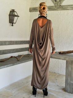 Dark Taupe Maxi Long Sleeve Dress / Dark Taupe Kaftan /