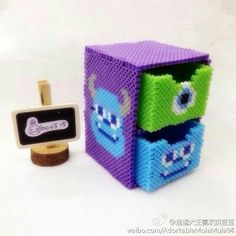 Monsters Inc Hama Perler beads Pixel Beads, 3d Perler Bead, Perler Bead Templates, Hama Beads Design, Diy Perler Beads, Fuse Beads, Melty Bead Patterns, Pearler Bead Patterns, Beading Patterns